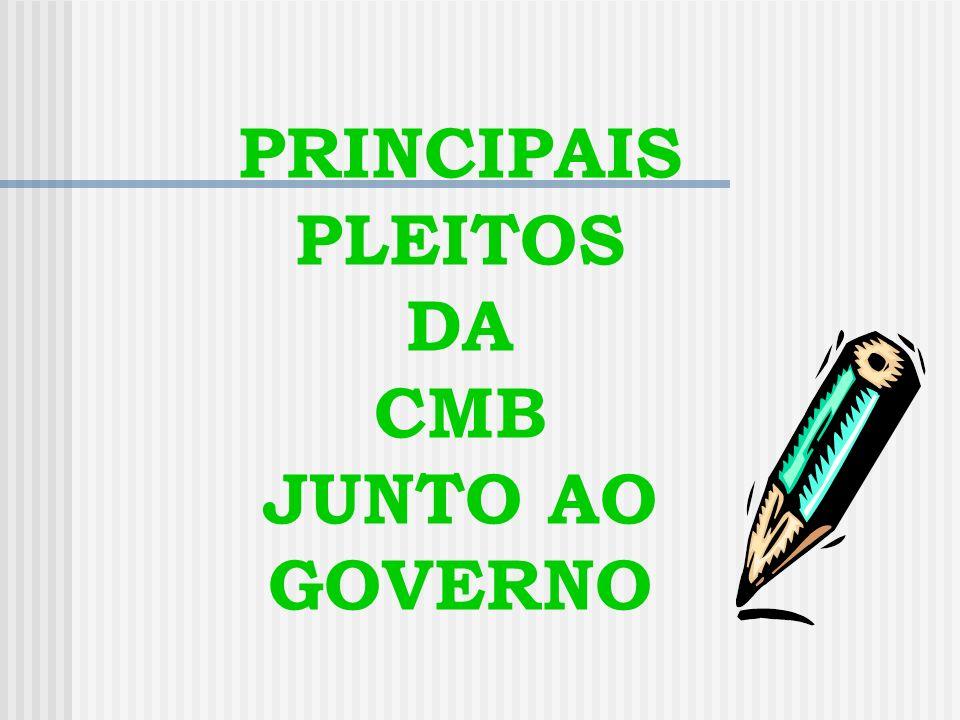 PRINCIPAIS PLEITOS DA CMB JUNTO AO GOVERNO