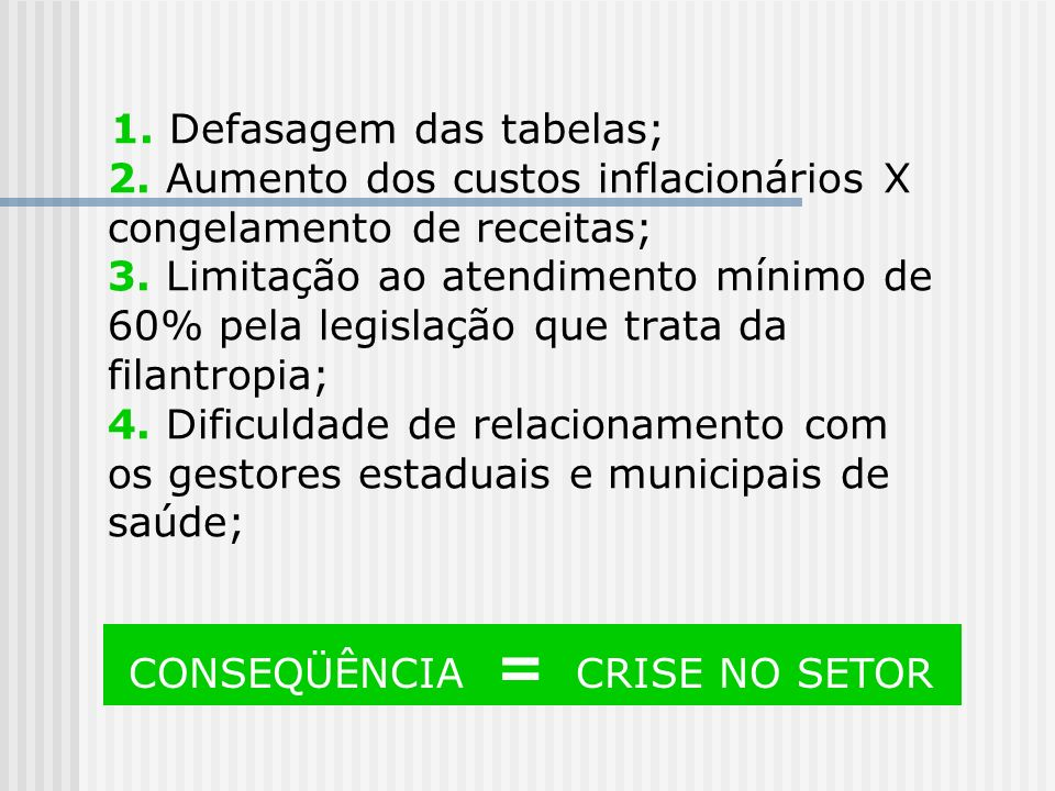 CONSEQÜÊNCIA = CRISE NO SETOR