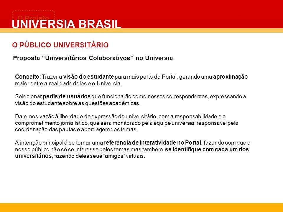 UNIVERSIA BRASIL O Projeto O PÚBLICO UNIVERSITÁRIO