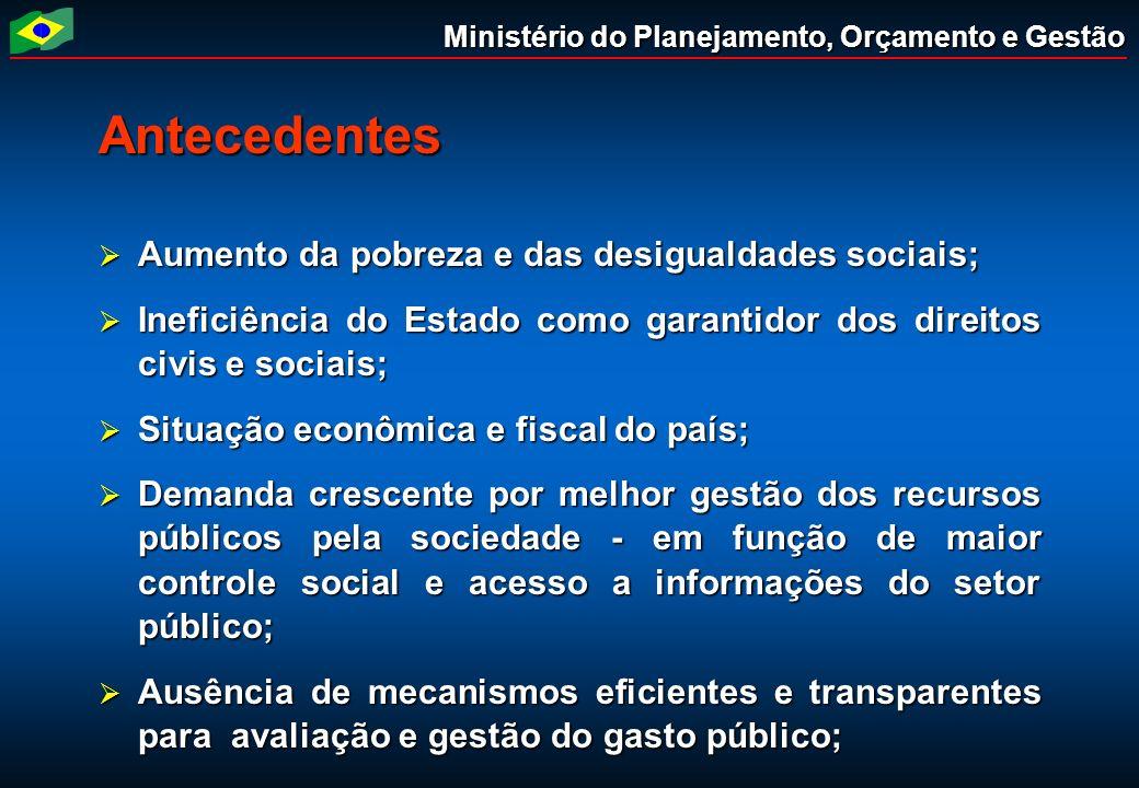 Antecedentes Aumento da pobreza e das desigualdades sociais;