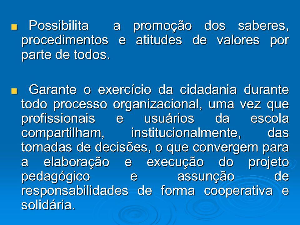 Possibilita a promoção dos saberes, procedimentos e atitudes de valores por parte de todos.