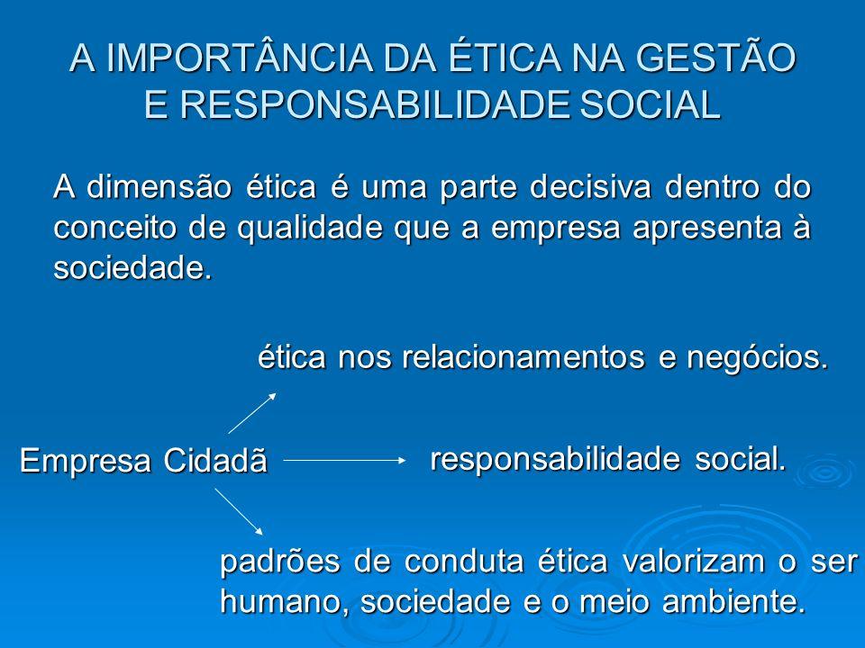 A IMPORTÂNCIA DA ÉTICA NA GESTÃO E RESPONSABILIDADE SOCIAL