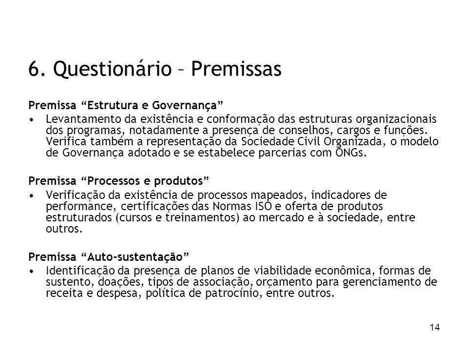 6. Questionário – Premissas