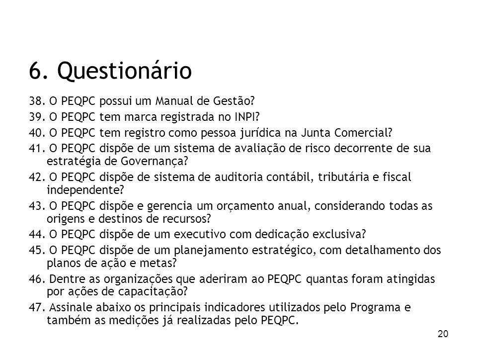 6. Questionário 38. O PEQPC possui um Manual de Gestão