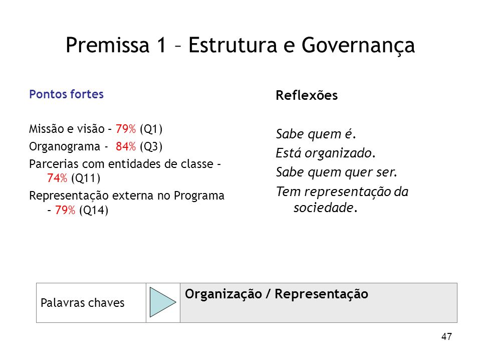 Premissa 1 – Estrutura e Governança