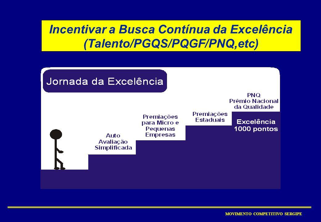 Incentivar a Busca Contínua da Excelência (Talento/PGQS/PQGF/PNQ,etc)
