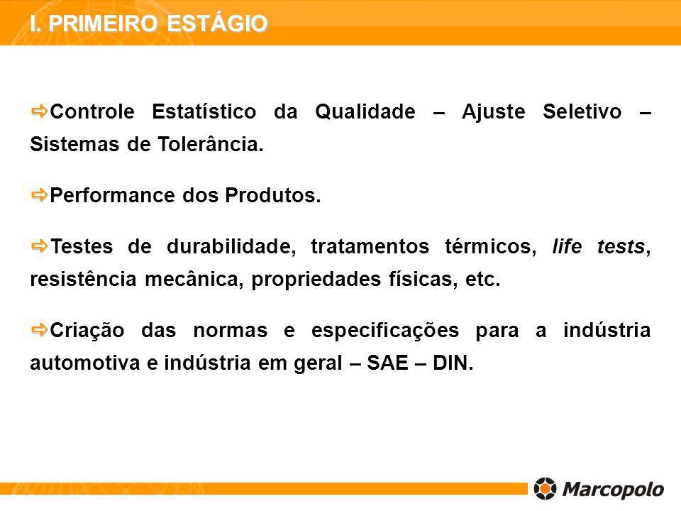 I. PRIMEIRO ESTÁGIO Controle Estatístico da Qualidade – Ajuste Seletivo – Sistemas de Tolerância. Performance dos Produtos.