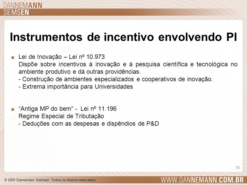 Instrumentos de incentivo envolvendo PI