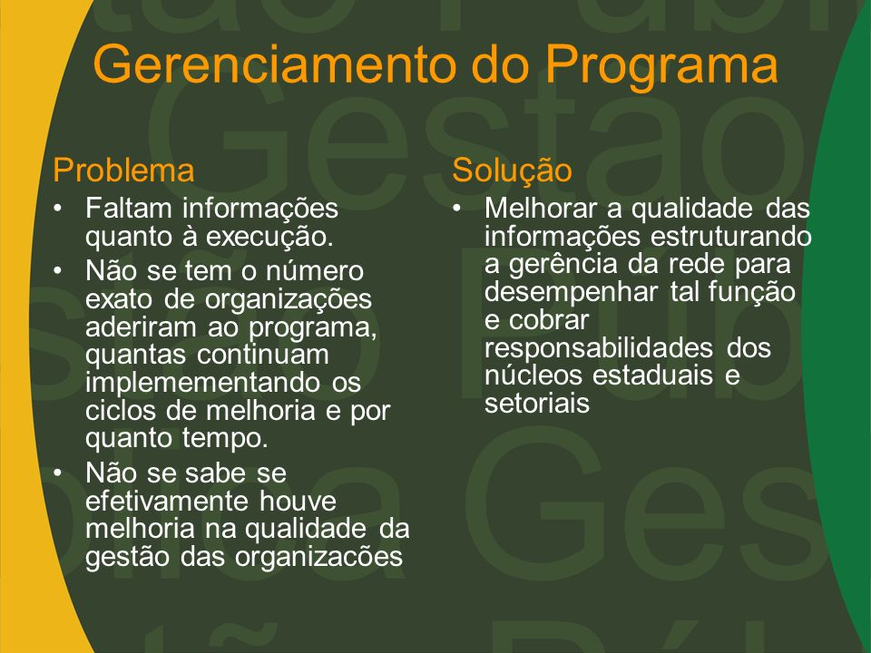 Gerenciamento do Programa