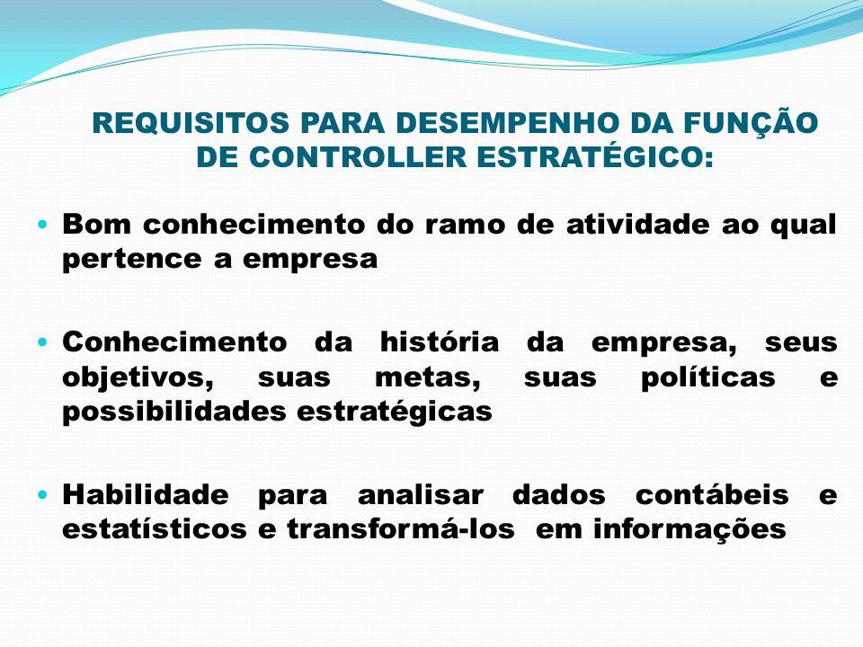 REQUISITOS PARA DESEMPENHO DA FUNÇÃO DE CONTROLLER ESTRATÉGICO: