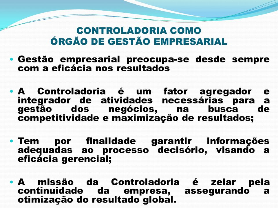 CONTROLADORIA COMO ÓRGÃO DE GESTÃO EMPRESARIAL
