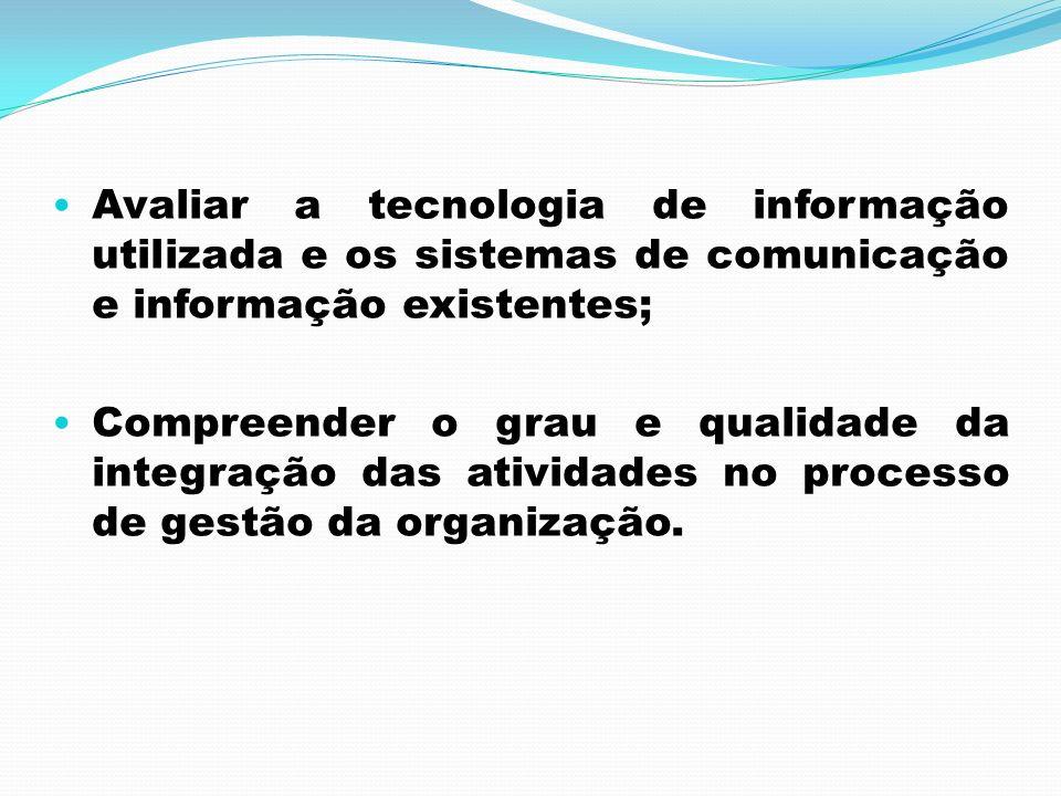 Avaliar a tecnologia de informação utilizada e os sistemas de comunicação e informação existentes;