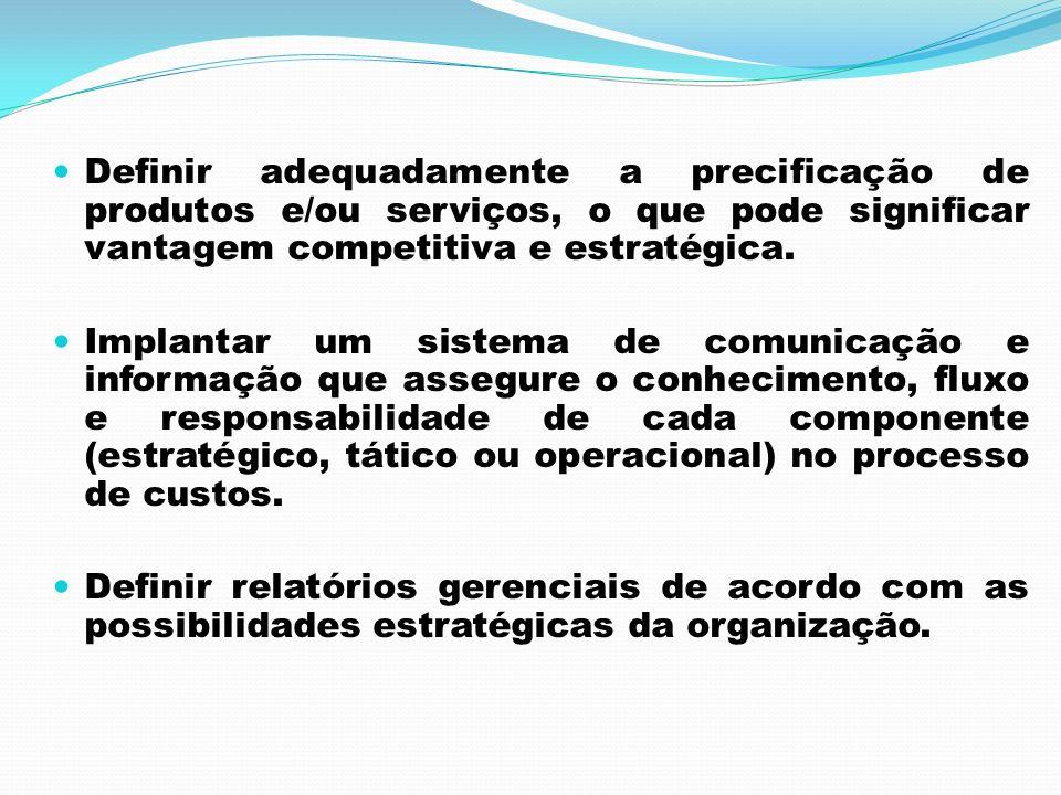 Definir adequadamente a precificação de produtos e/ou serviços, o que pode significar vantagem competitiva e estratégica.