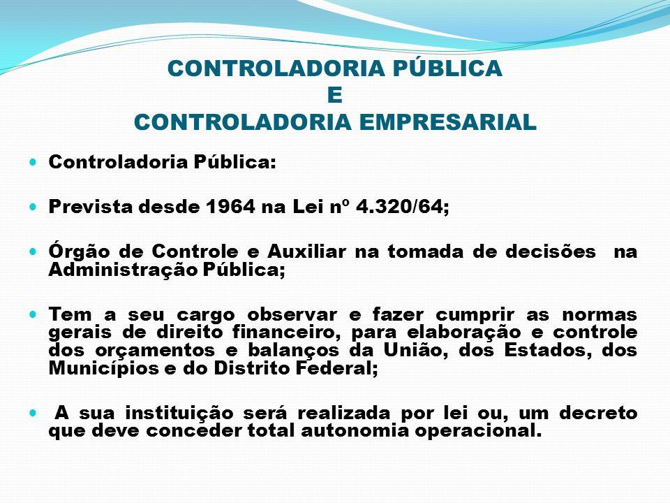 CONTROLADORIA PÚBLICA E CONTROLADORIA EMPRESARIAL