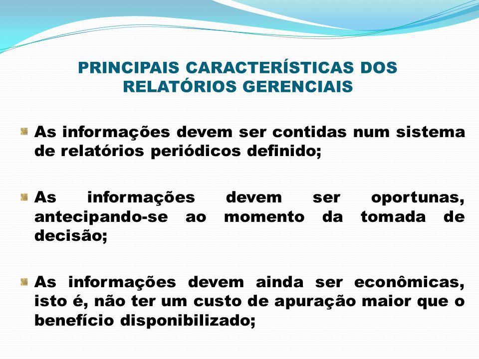 PRINCIPAIS CARACTERÍSTICAS DOS RELATÓRIOS GERENCIAIS