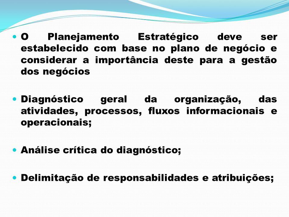 O Planejamento Estratégico deve ser estabelecido com base no plano de negócio e considerar a importância deste para a gestão dos negócios