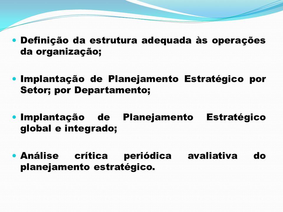 Definição da estrutura adequada às operações da organização;