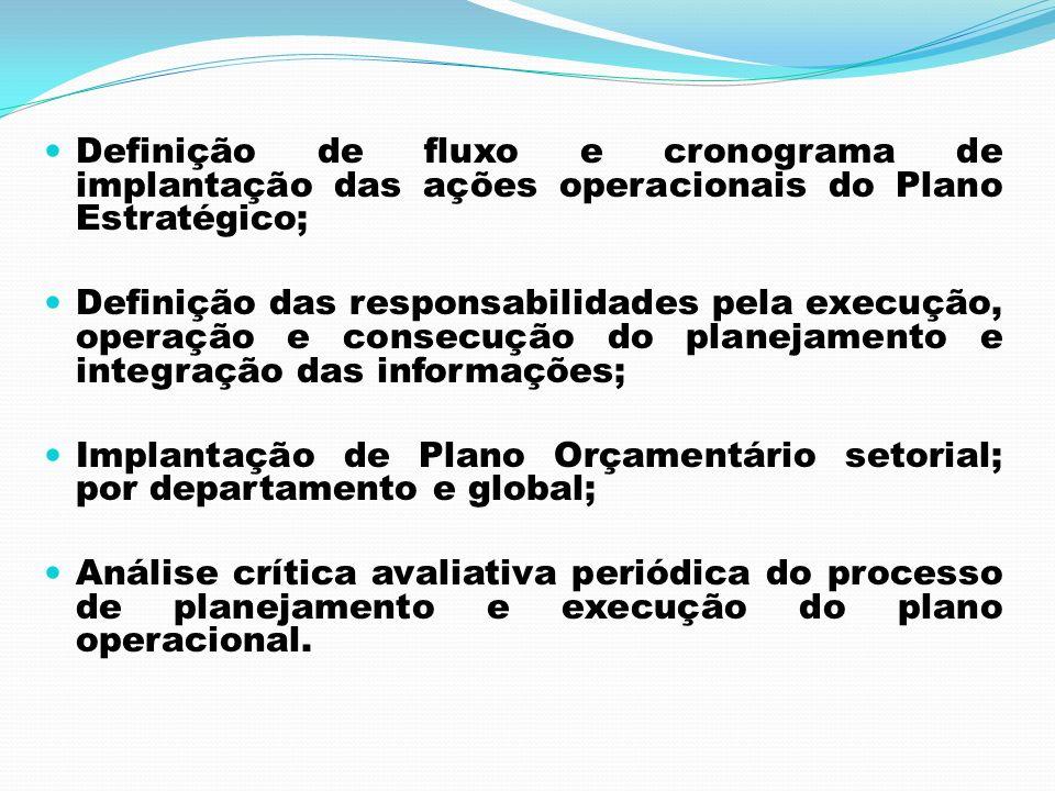 Definição de fluxo e cronograma de implantação das ações operacionais do Plano Estratégico;