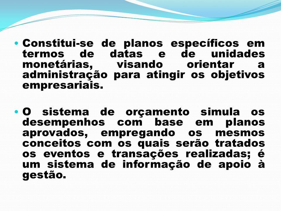 Constitui-se de planos específicos em termos de datas e de unidades monetárias, visando orientar a administração para atingir os objetivos empresariais.