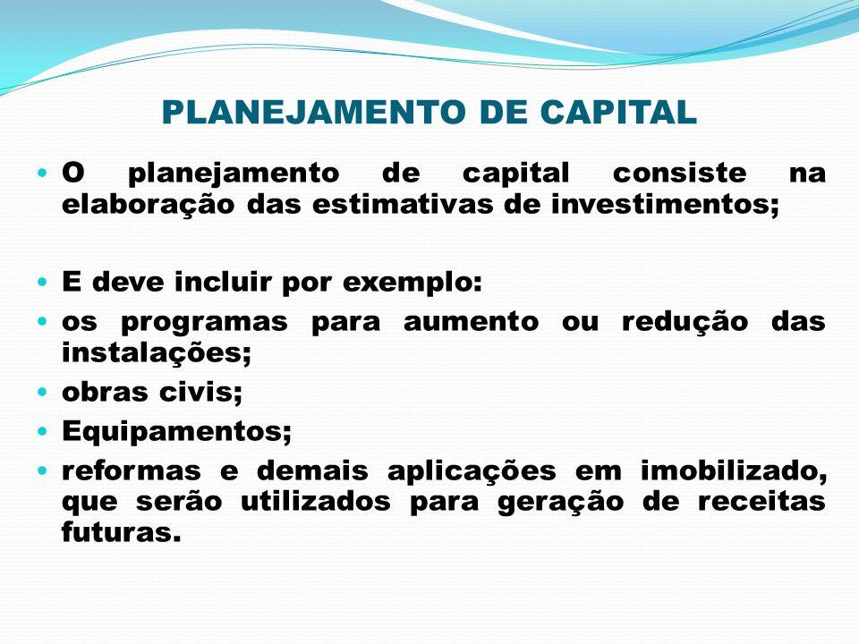 PLANEJAMENTO DE CAPITAL