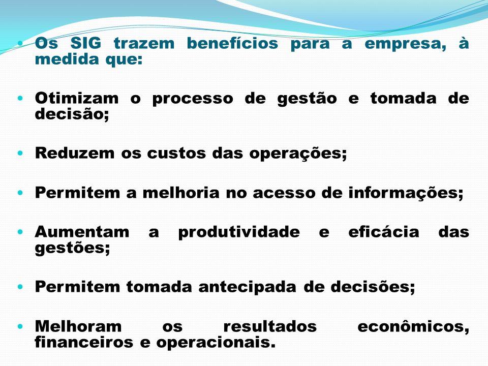 Os SIG trazem benefícios para a empresa, à medida que: