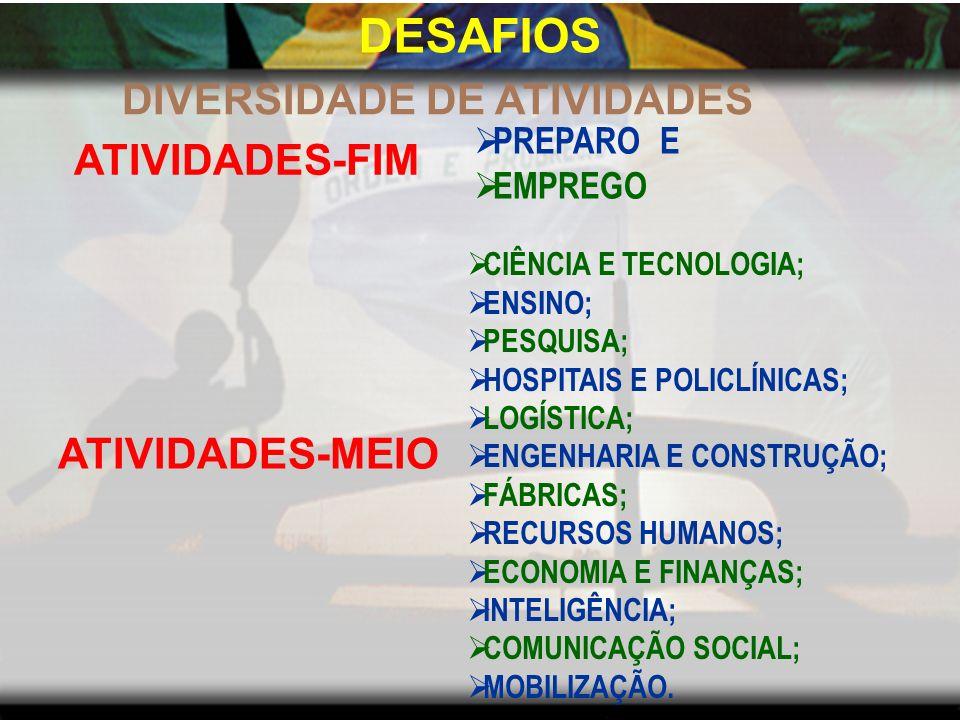 DESAFIOS DIVERSIDADE DE ATIVIDADES ATIVIDADES-FIM ATIVIDADES-MEIO