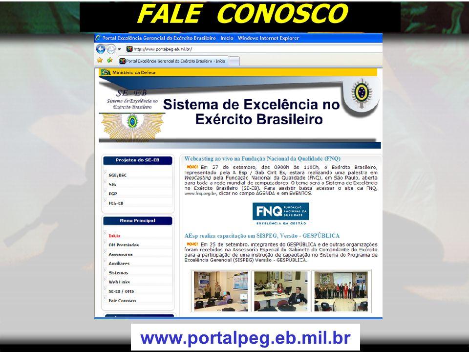 FALE CONOSCO www.portalpeg.eb.mil.br