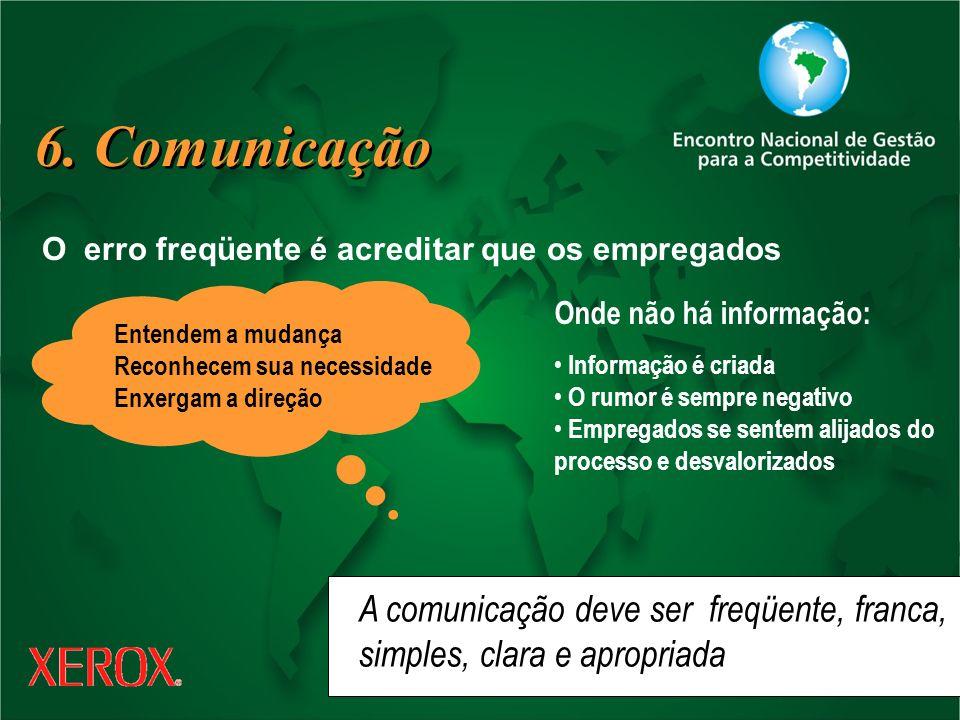 6. Comunicação A comunicação deve ser freqüente, franca,