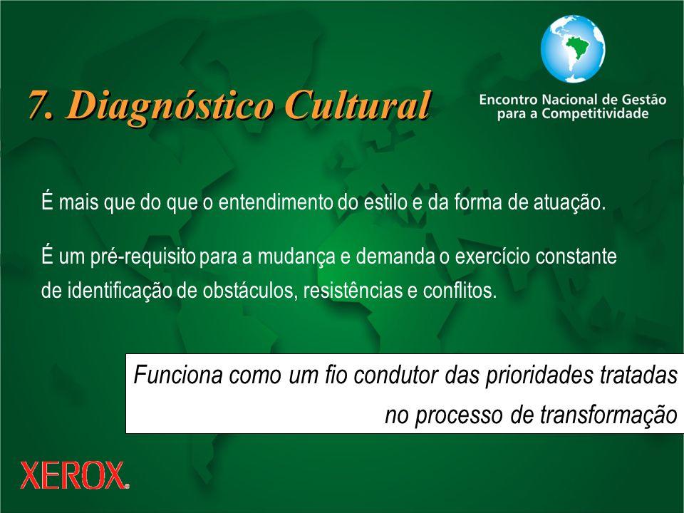 7. Diagnóstico Cultural É mais que do que o entendimento do estilo e da forma de atuação.