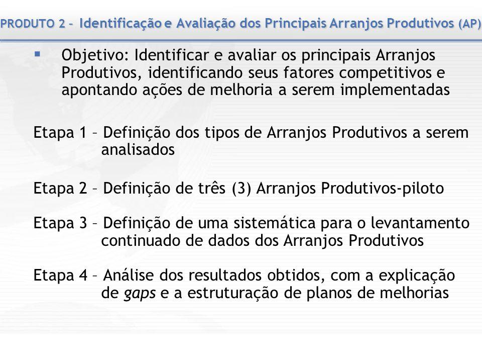 Etapa 2 – Definição de três (3) Arranjos Produtivos-piloto
