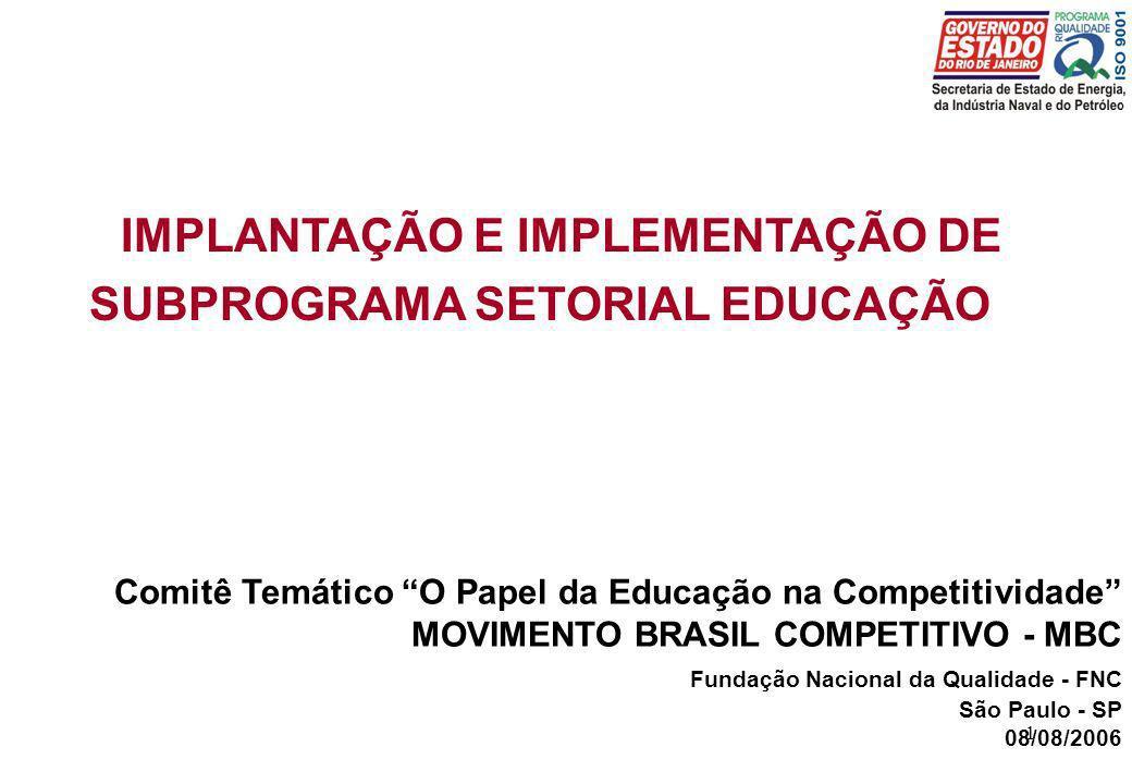 IMPLANTAÇÃO E IMPLEMENTAÇÃO DE SUBPROGRAMA SETORIAL EDUCAÇÃO