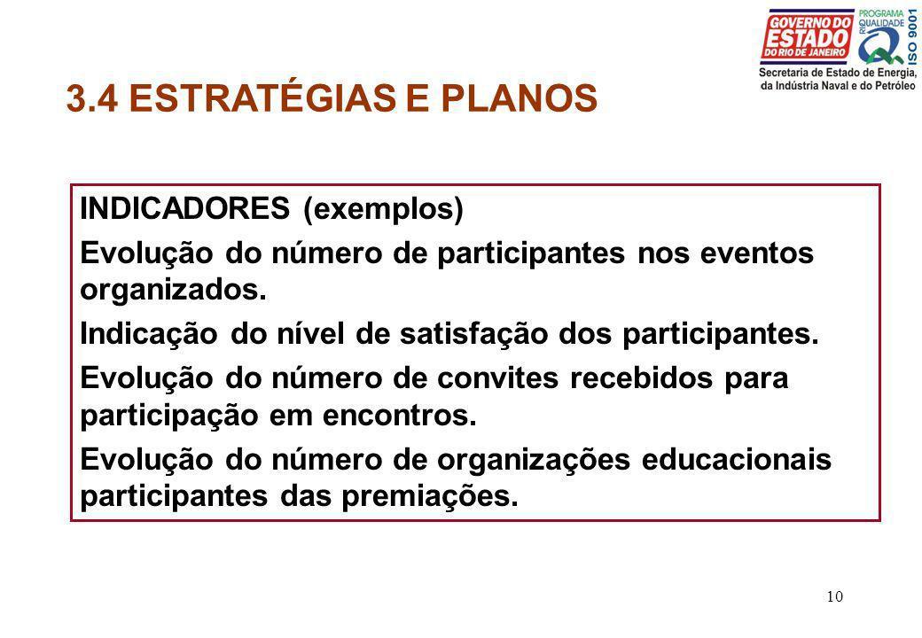 3.4 ESTRATÉGIAS E PLANOS INDICADORES (exemplos)