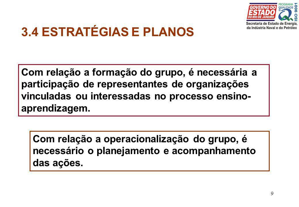 3.4 ESTRATÉGIAS E PLANOS