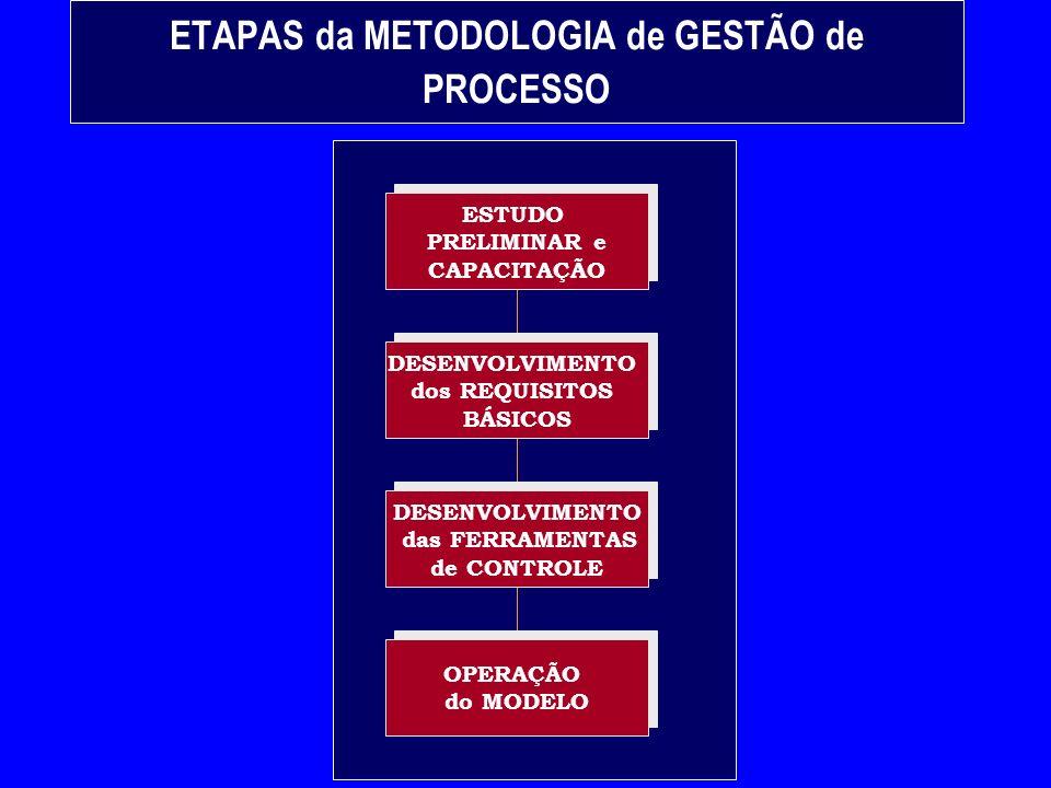ETAPAS da METODOLOGIA de GESTÃO de PROCESSO