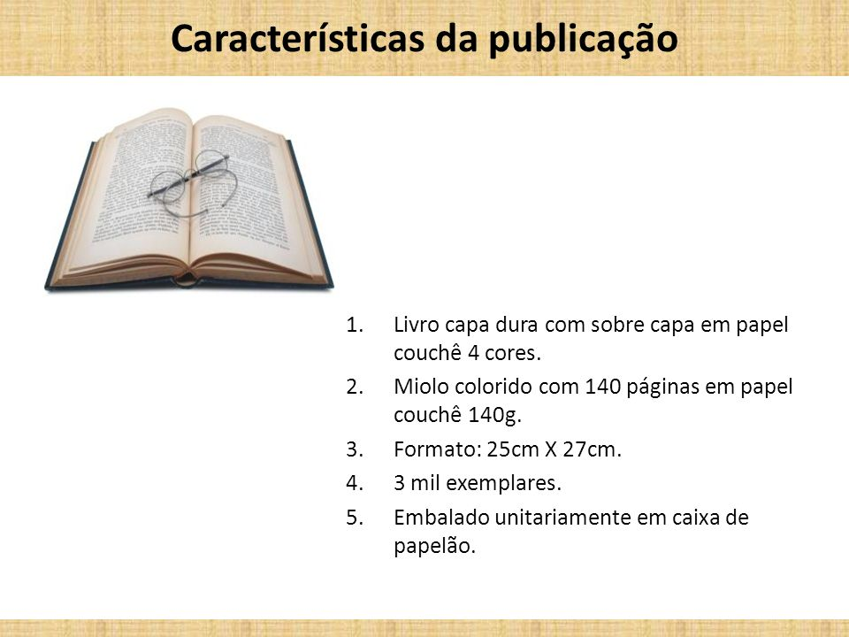 Características da publicação
