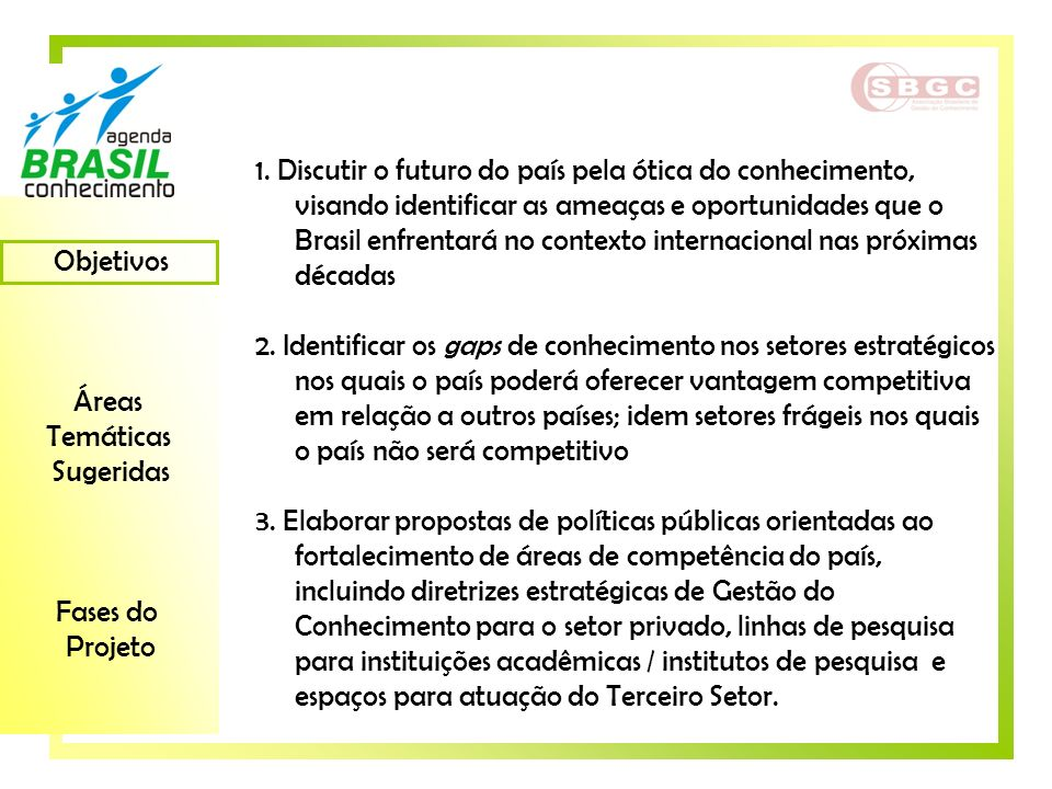 1. Discutir o futuro do país pela ótica do conhecimento, visando identificar as ameaças e oportunidades que o Brasil enfrentará no contexto internacional nas próximas décadas