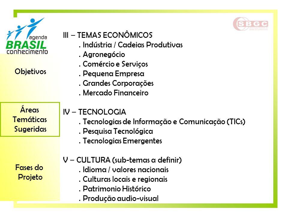 III – TEMAS ECONÔMICOS . Indústria / Cadeias Produtivas. . Agronegócio. . Comércio e Serviços. . Pequena Empresa.