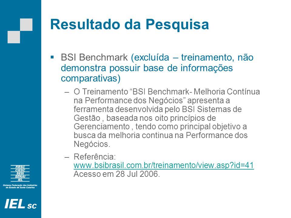 Resultado da Pesquisa BSI Benchmark (excluída – treinamento, não demonstra possuir base de informações comparativas)