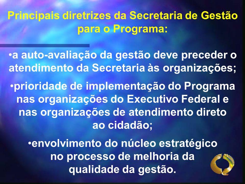 Principais diretrizes da Secretaria de Gestão para o Programa: