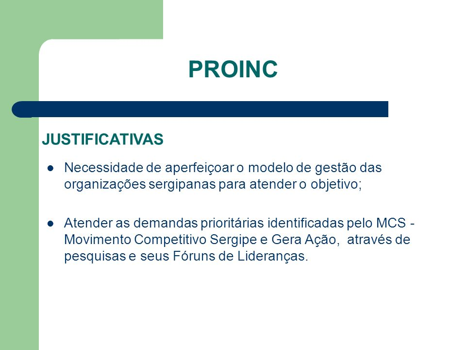 PROINC JUSTIFICATIVAS