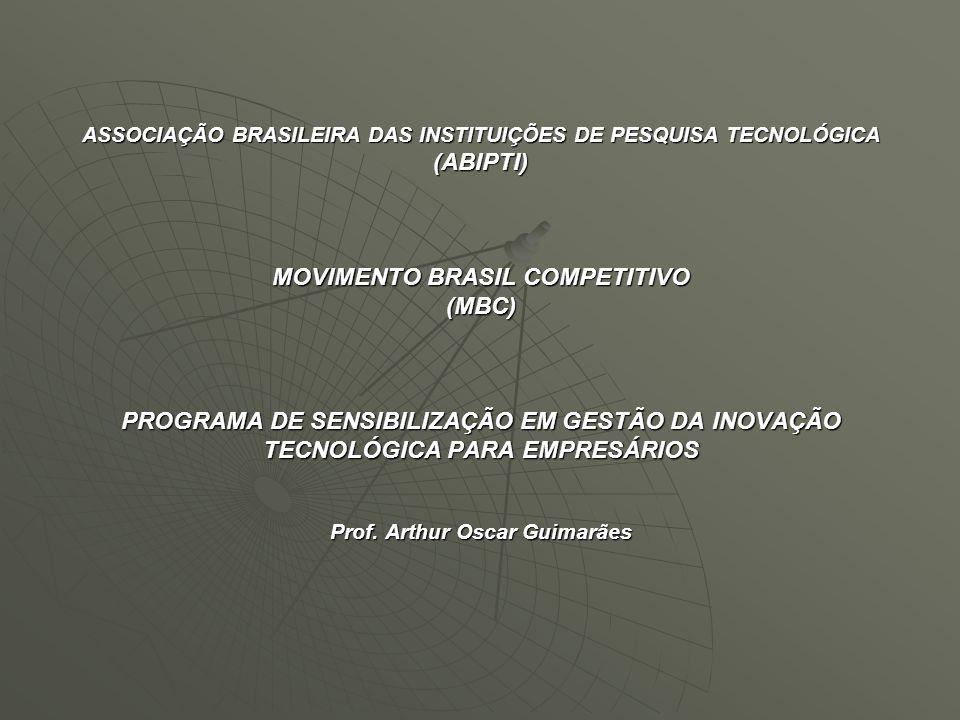 ASSOCIAÇÃO BRASILEIRA DAS INSTITUIÇÕES DE PESQUISA TECNOLÓGICA (ABIPTI) MOVIMENTO BRASIL COMPETITIVO (MBC) PROGRAMA DE SENSIBILIZAÇÃO EM GESTÃO DA INOVAÇÃO TECNOLÓGICA PARA EMPRESÁRIOS Prof.