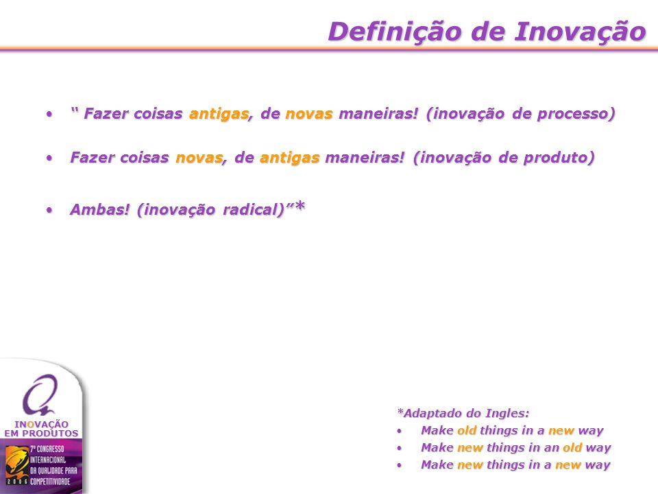 Definição de Inovação Fazer coisas antigas, de novas maneiras! (inovação de processo)