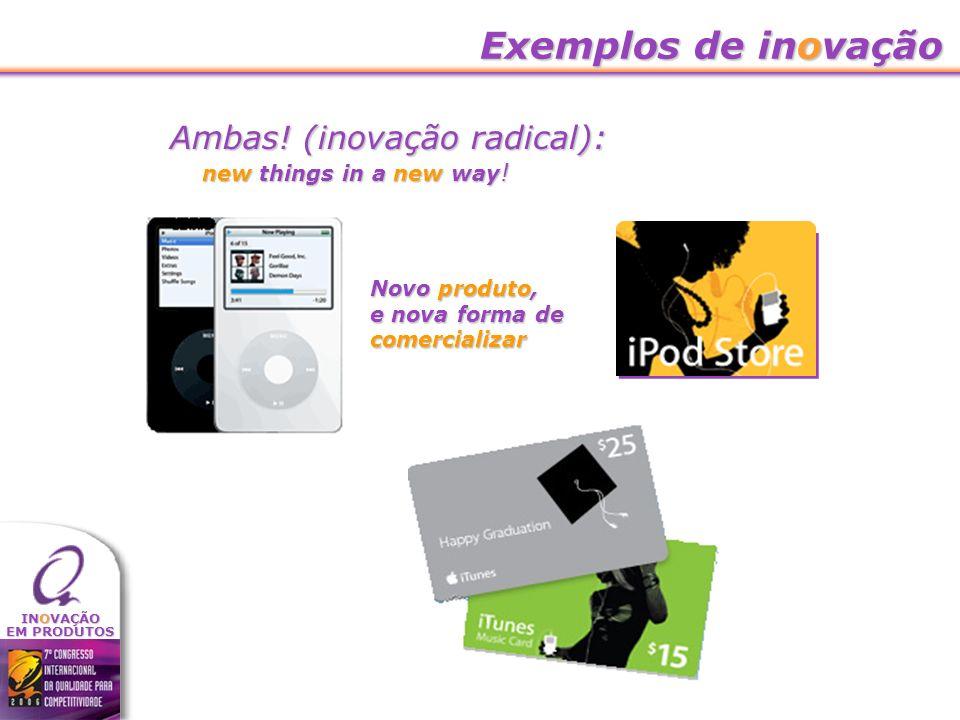 Exemplos de inovação Ambas! (inovação radical):