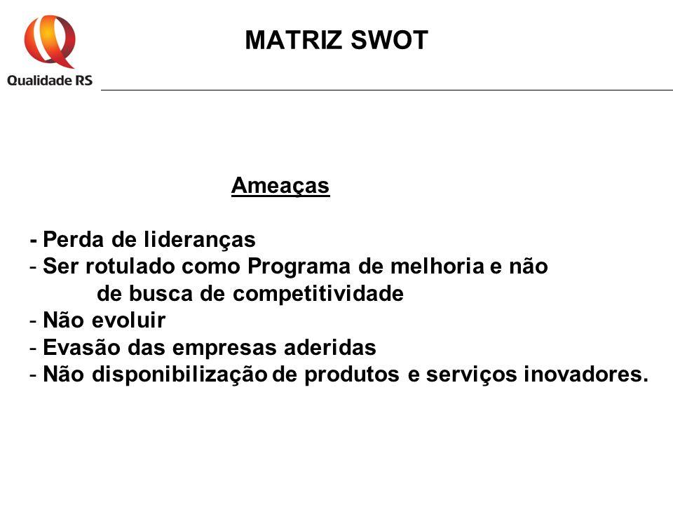 MATRIZ SWOT Ameaças - Perda de lideranças
