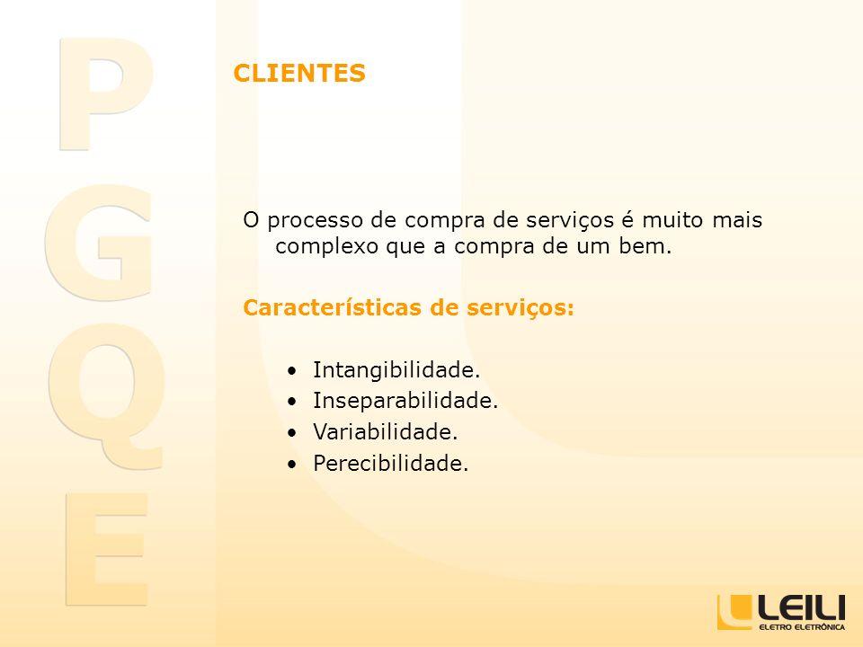 CLIENTES O processo de compra de serviços é muito mais complexo que a compra de um bem. Características de serviços: