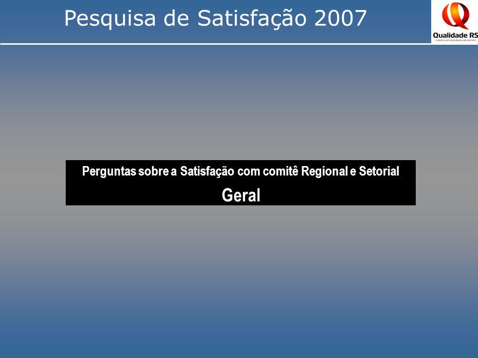 Perguntas sobre a Satisfação com comitê Regional e Setorial