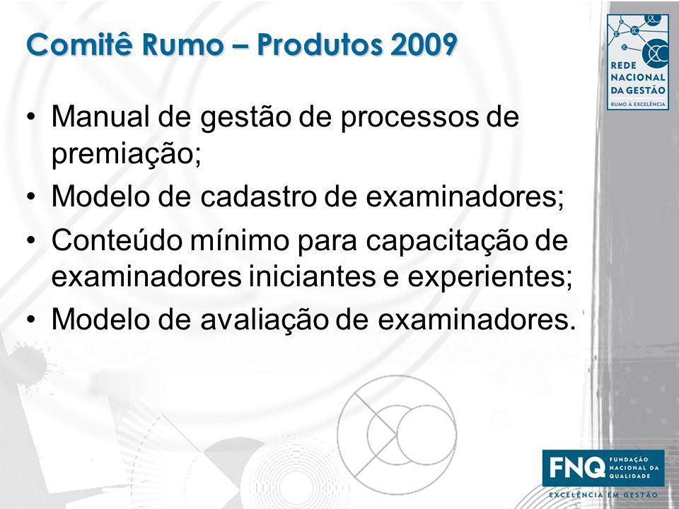 Comitê Rumo – Produtos 2009 Manual de gestão de processos de premiação; Modelo de cadastro de examinadores;
