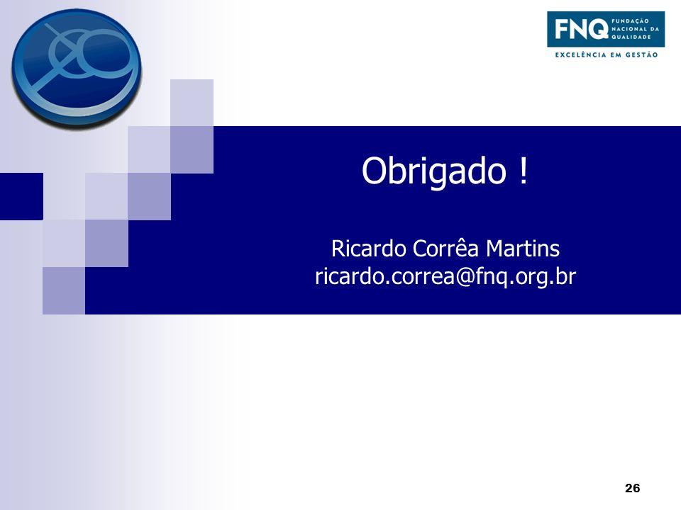 Obrigado ! Ricardo Corrêa Martins ricardo.correa@fnq.org.br