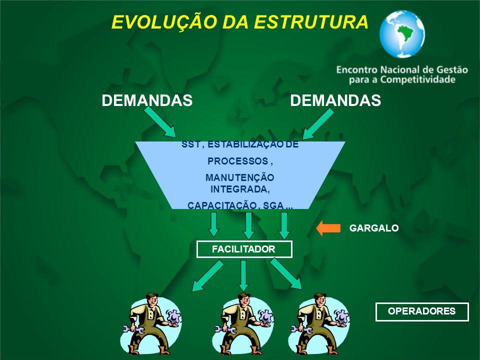 EVOLUÇÃO DA ESTRUTURA DEMANDAS DEMANDAS SST , ESTABILIZAÇÃO DE