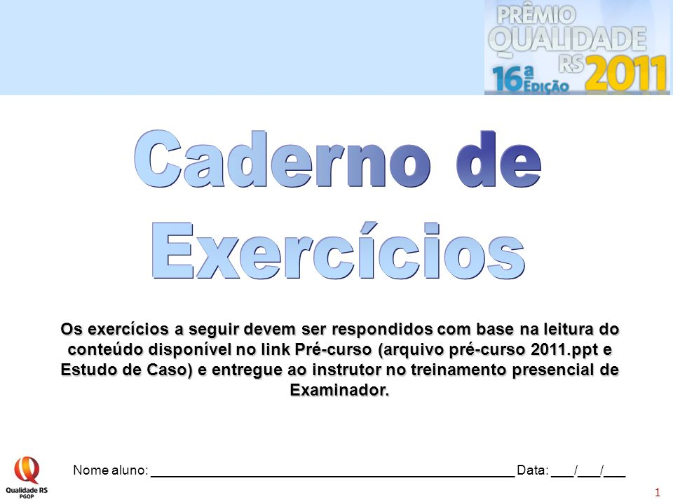 Caderno de Exercícios.